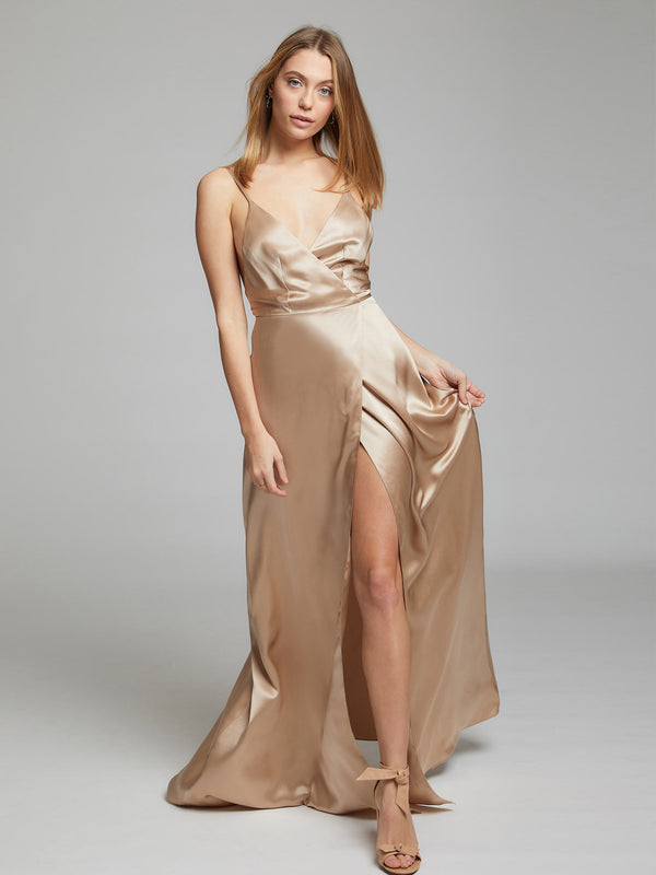 The Grace champagne silk dress