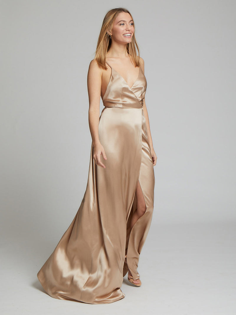 The Grace champagne silk bridesmaid dress worn by Heloise Agostinelli
