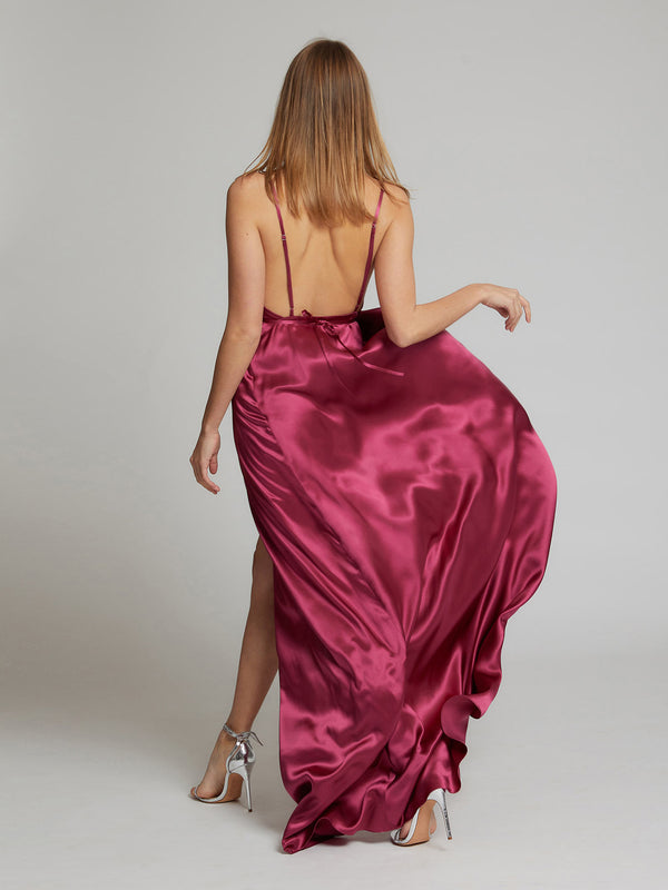The Grace silk dress in deep pink worn by Heloise Agostinelli