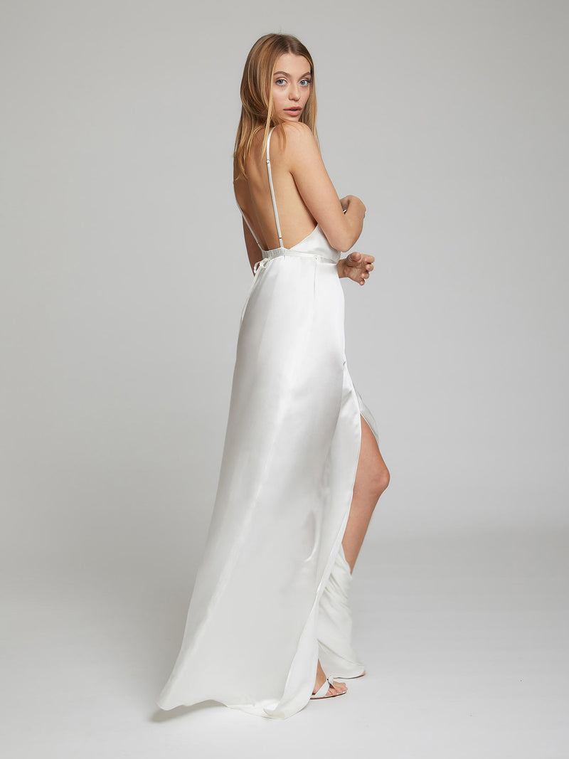 The Grace white silk dress worn by Heloise Agostinelli
