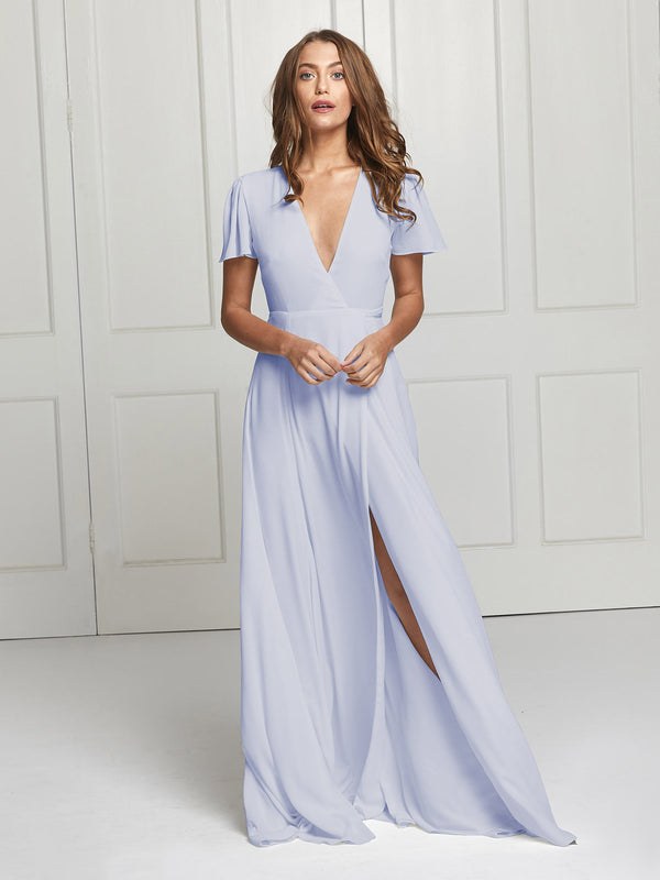 The Jeanne heather blue wrap dress
