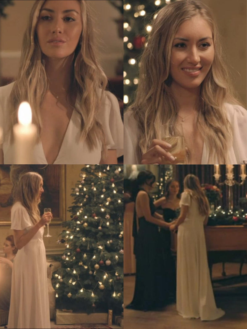 Sophie 'Habbs' Habboo on Made in Chelsea wearing the Jeanne white wrap dress from London designer Constellation Âme.