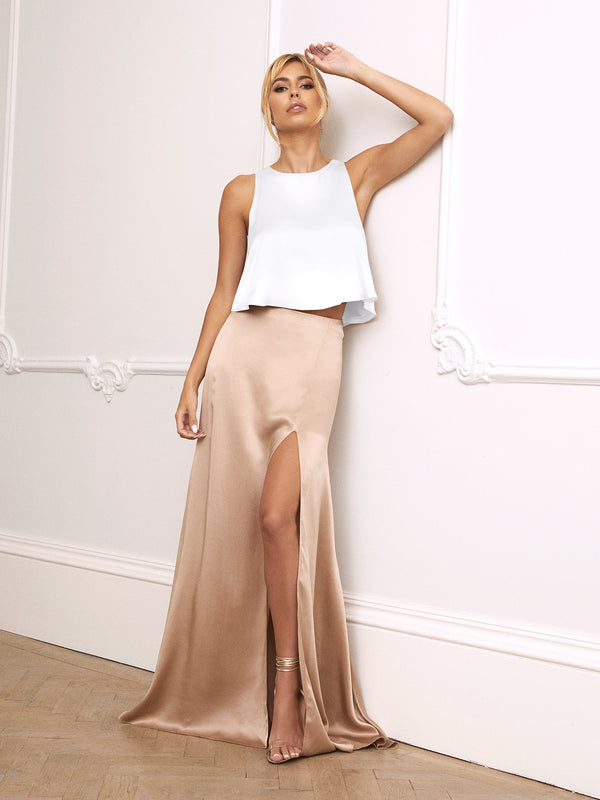 Lena champagne silk skirt & ivory top set
