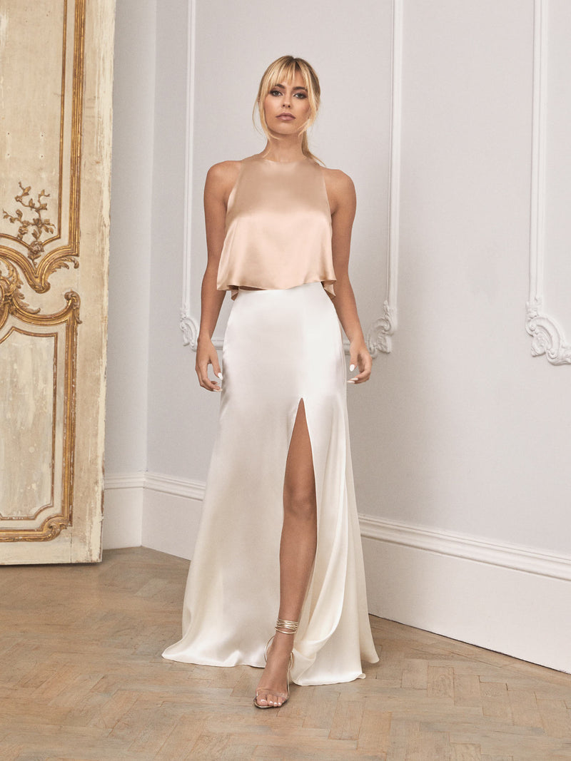 Champagne and ivory silk wedding set