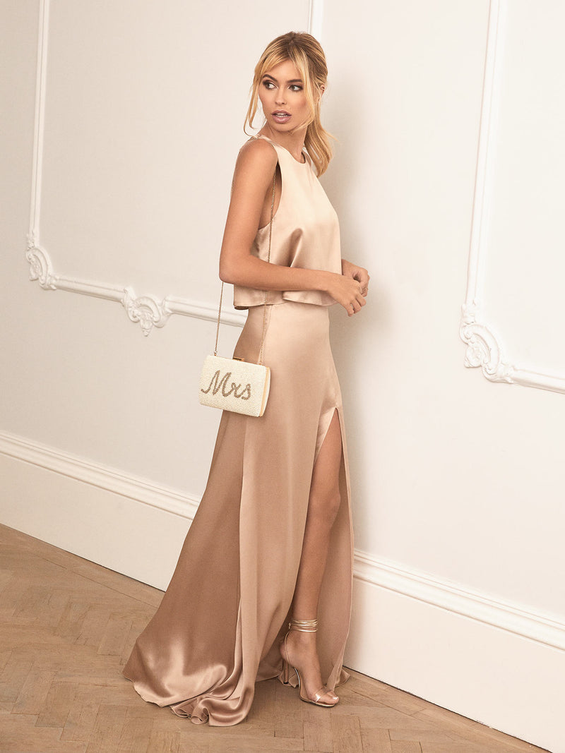 Champagne silk skirt and top set