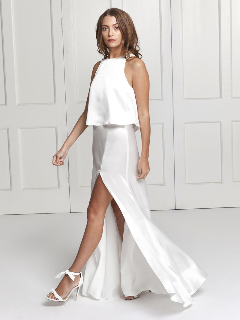 The Lena white bridesmaid dress made from 100% silk