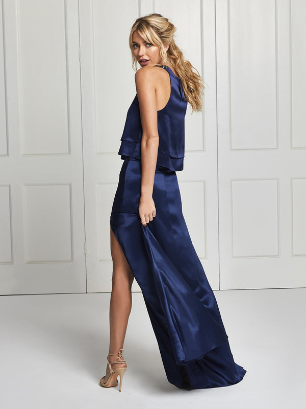 Navy silk skirt & top set