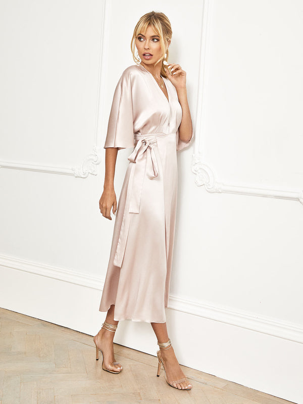 The Lily midi-length blush silk kimono made by independent London designer Constellation Ame