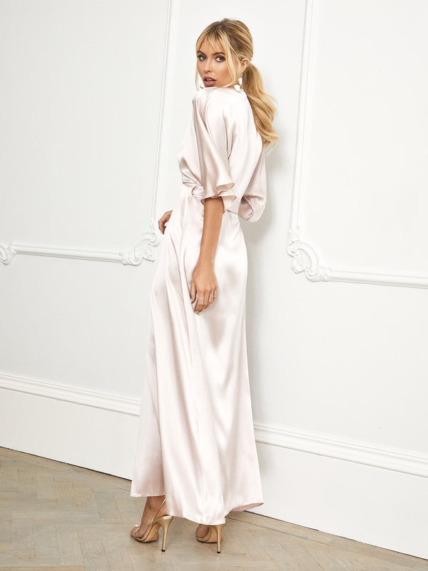 The Lucille kimono in blush pink silk