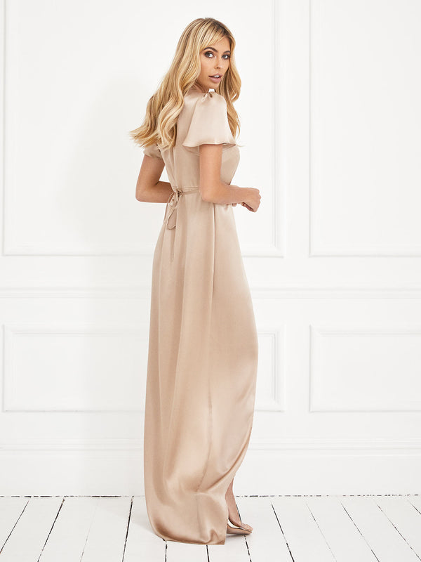 The Lucy champagne silk dress