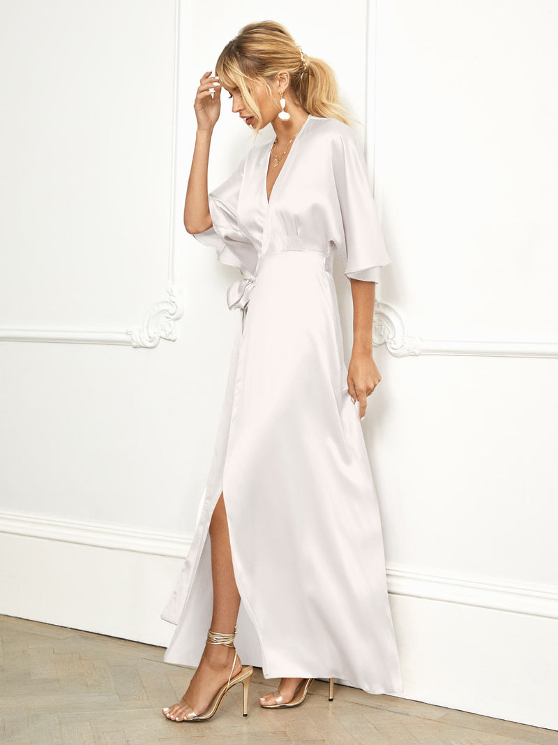 The Maya kimono ivory silk wrap dress from Constellation Ame