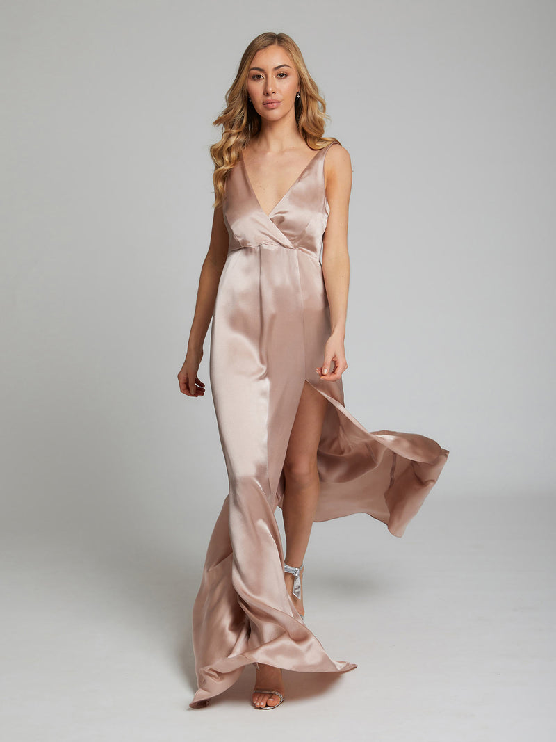 The Romee silk dress in blush pink, worn by Sophie Habboo