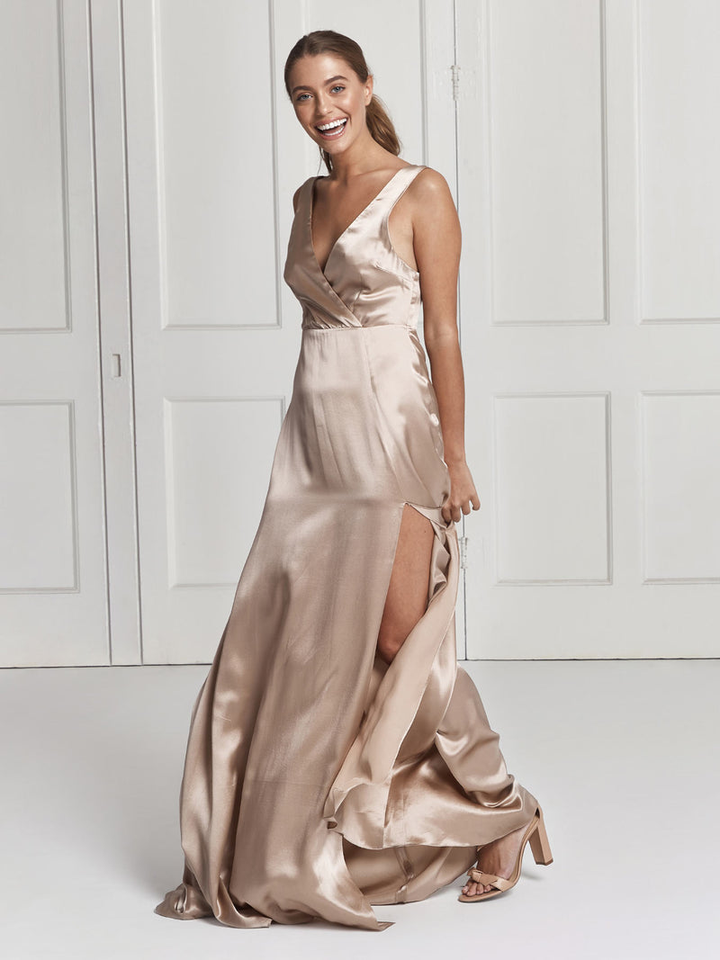 The Romee champagne silk dress