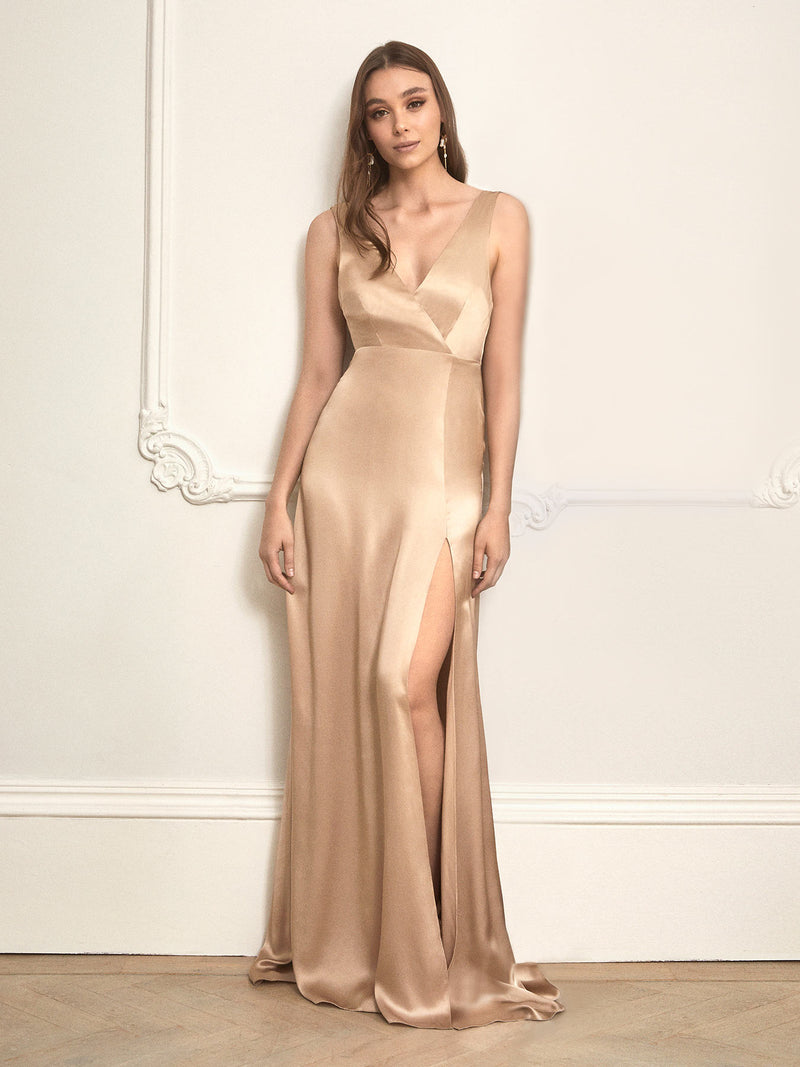 The Romee champagne silk bridesmaid dress designed and made by us in London.