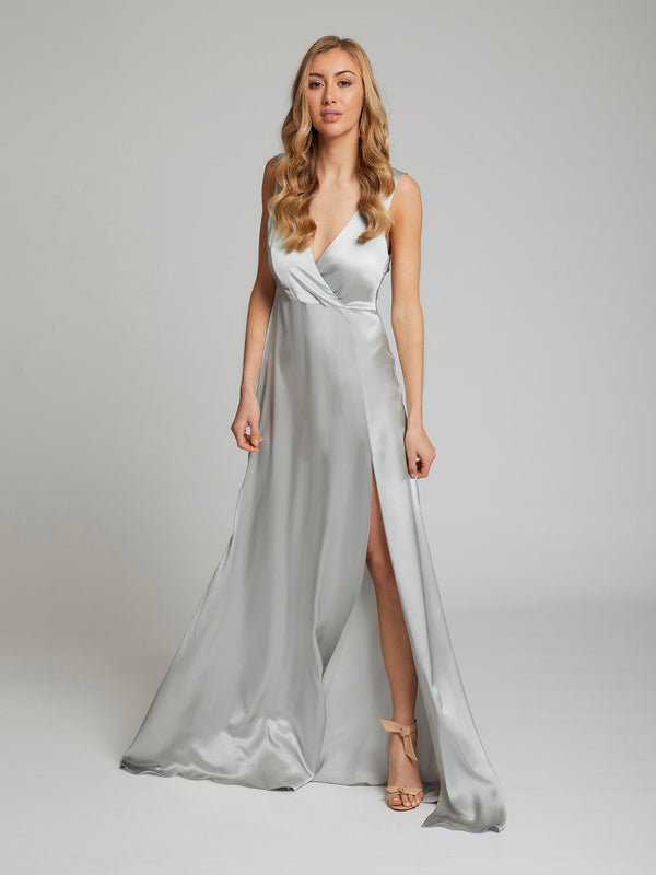 The Romee silver silk dress