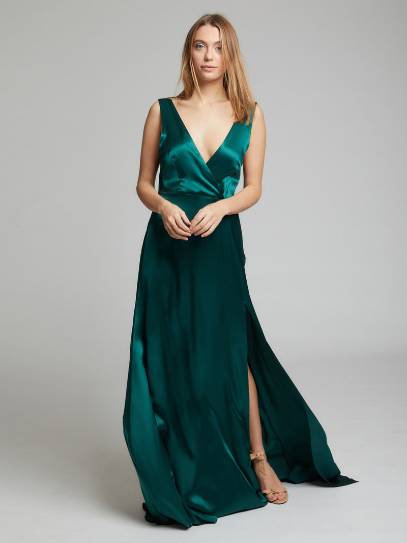 The Romee winter green silk dress