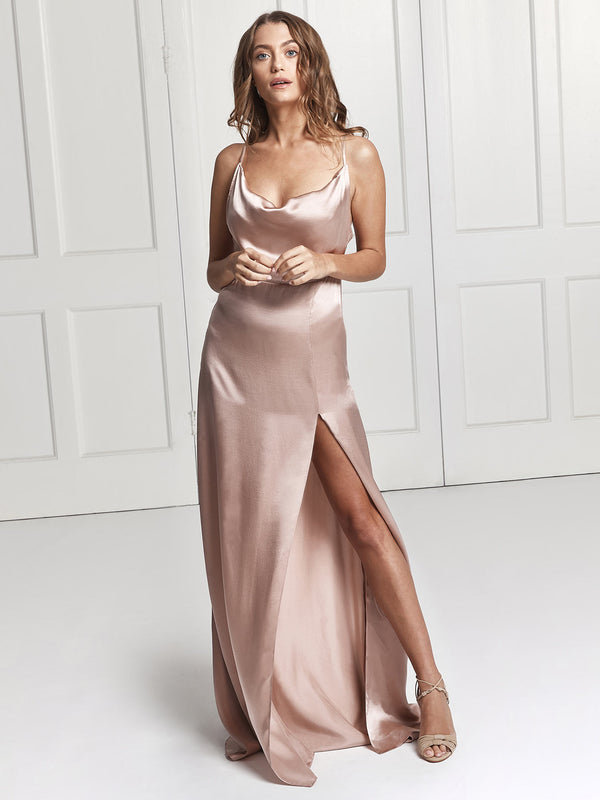 Salome silk dress in blush