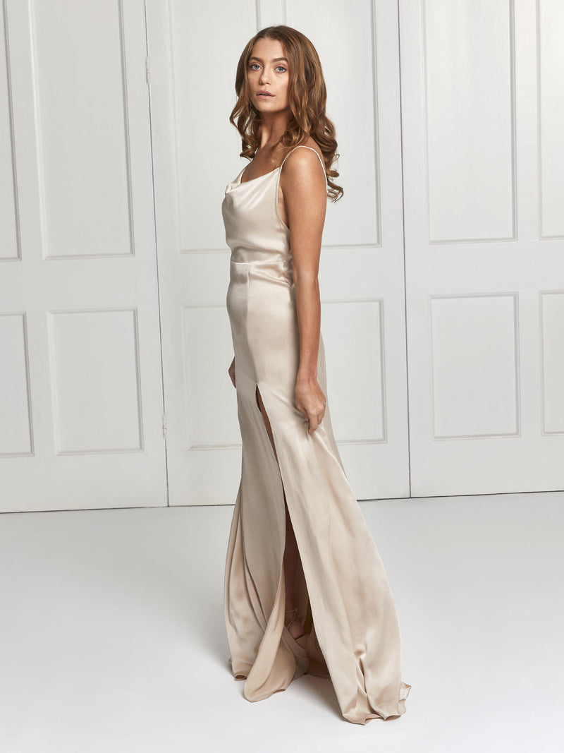 The Salome silk bridesmaid dress in champagne colour