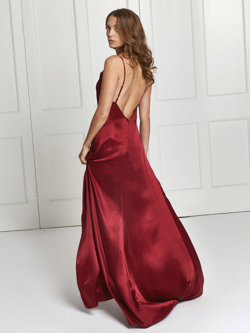 Salome silk dress in deep red