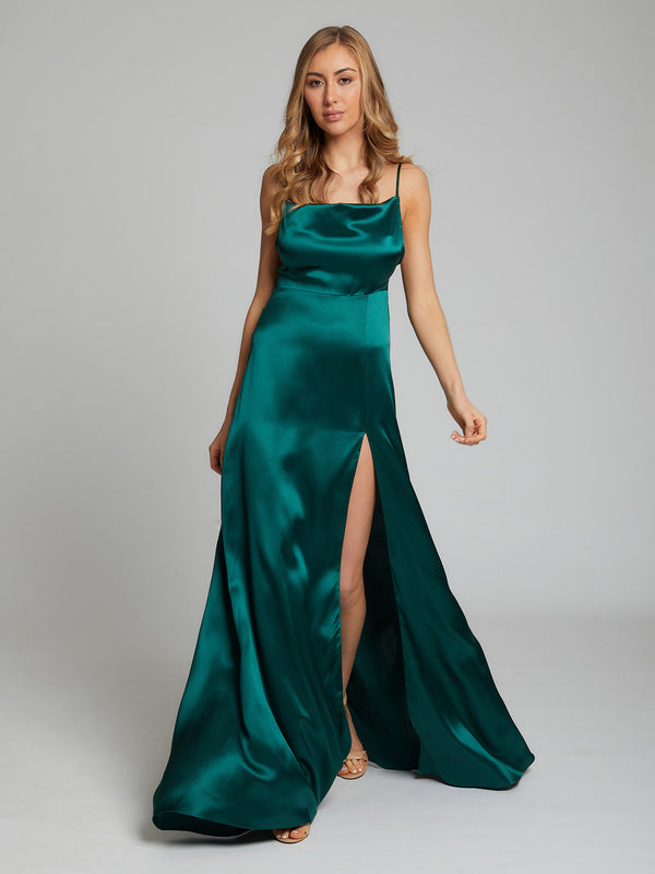 Salome silk dress in winter green