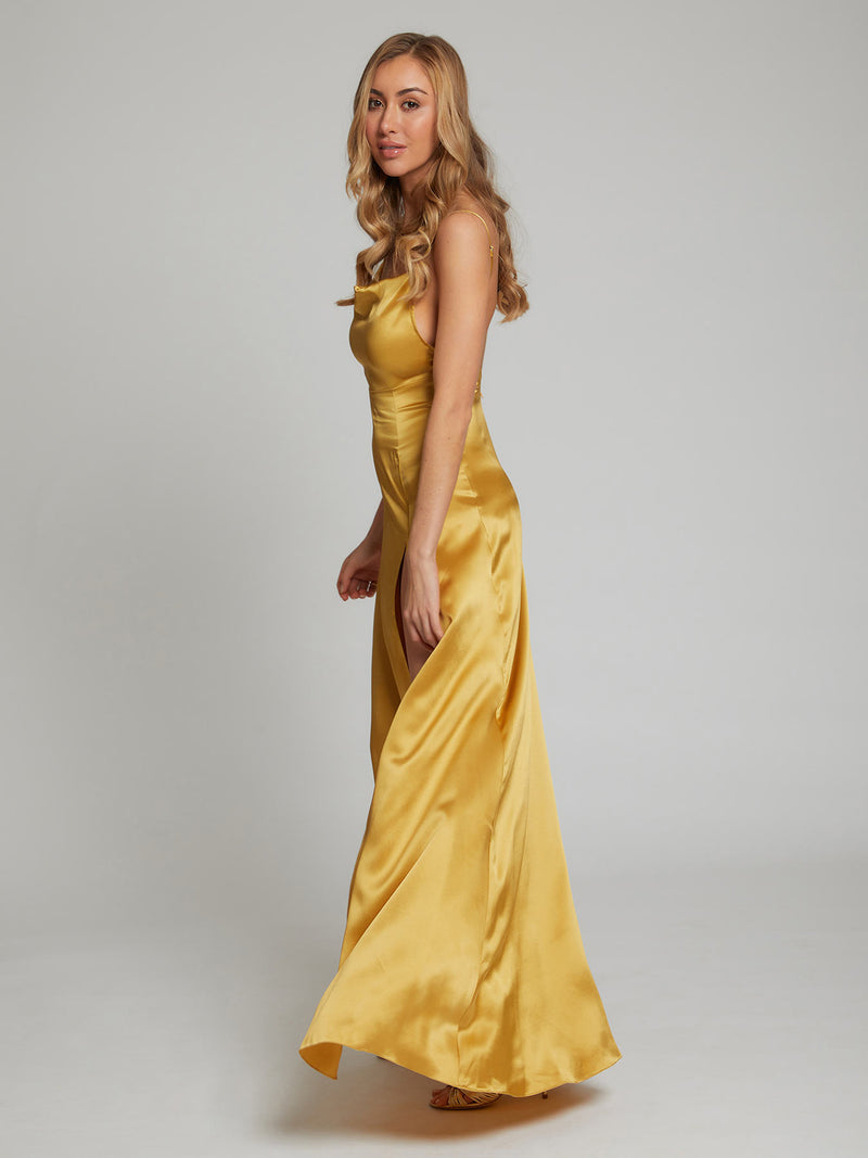 Salome gold silk dress