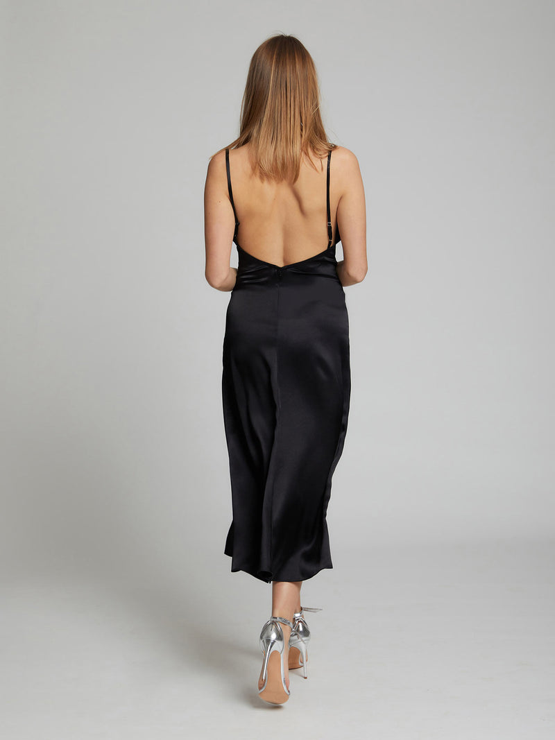Selah black midi silk slip dress by London designer Constellation Âme