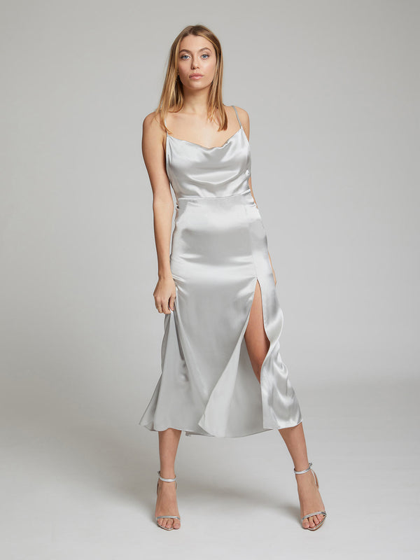 Selah midi lenth silk dress in Silver