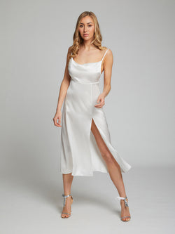 Selah white midi silk slip dress by London designer Constellation Âme