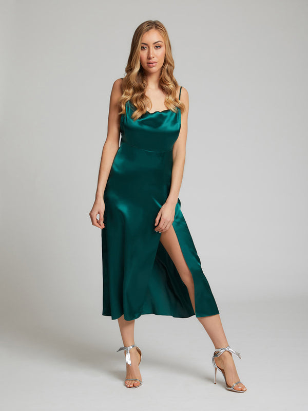 The Selah midi silk dress in winter green worn by Sophia Habboo