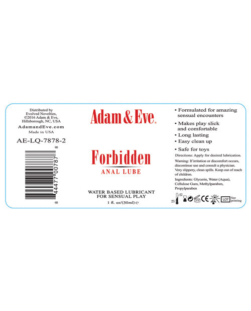 Adam & Eve Forbidden Water Based Anal Lube - 1 O