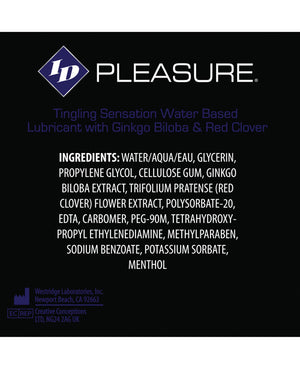 Id Pleasure Waterbased Tingling Lubricant - 2.2 Oz Flip Cap Bottle