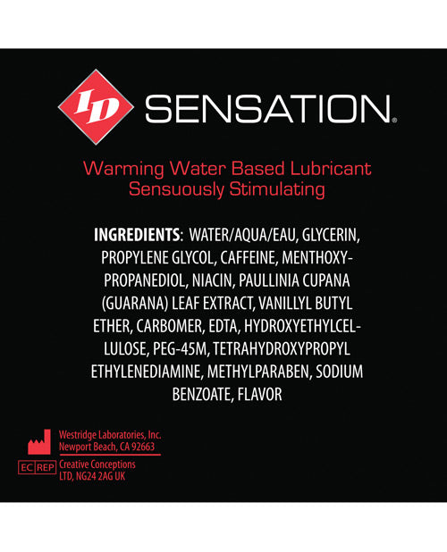 Id Sensation Waterbased Warming Lubricant - 12 Ml Tube