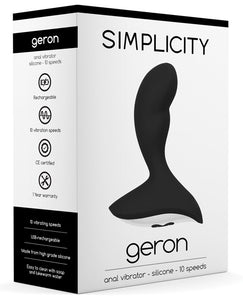 Shots Simplicity Geron Rechargeable Anal Vibrator - 10 Speed Black