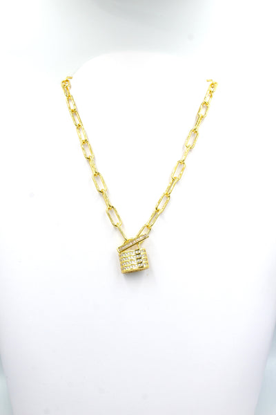 Louis Lock Necklace, Gold