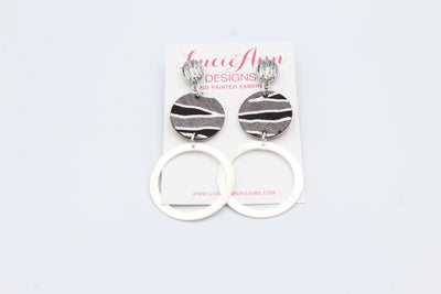 Black Zebra Circle Hoops