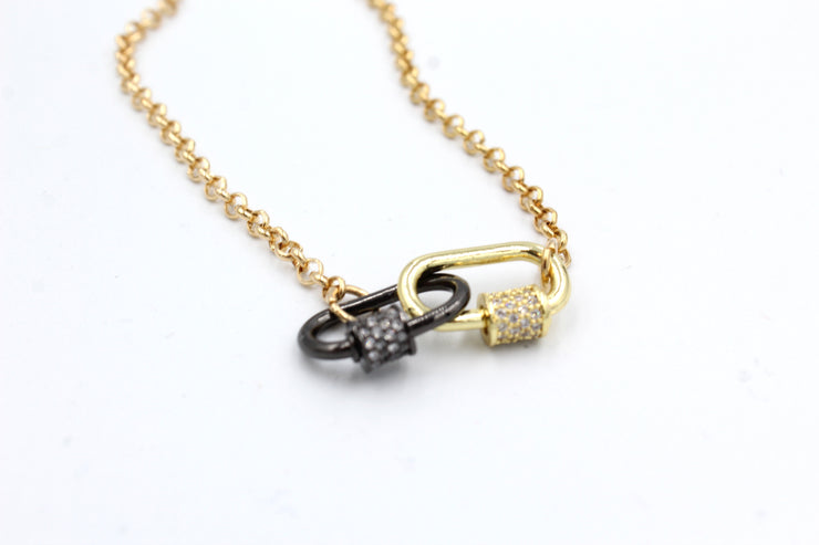 Double Mini Lock Necklace, Gold