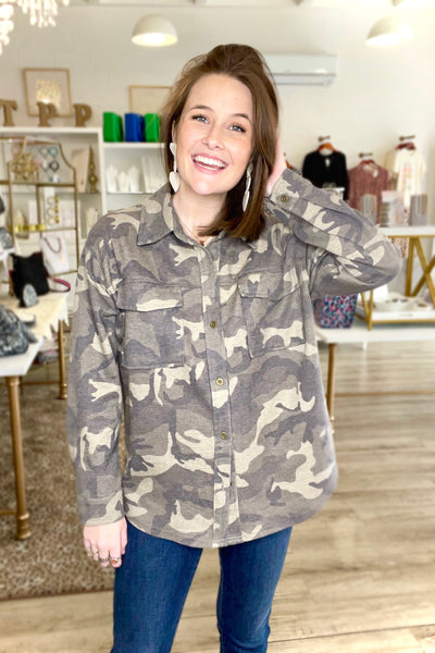 Camo Thermal Knit Shirt, Olive