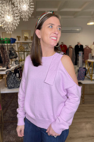 Open Shoulder Sweater, Lavender