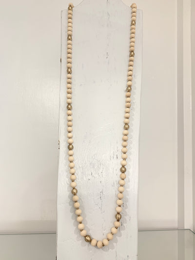 Long Wood Ball Necklace Ivory
