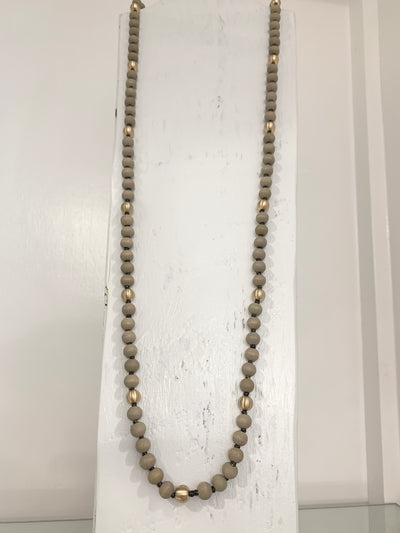Long Wood Ball Necklace GRAY