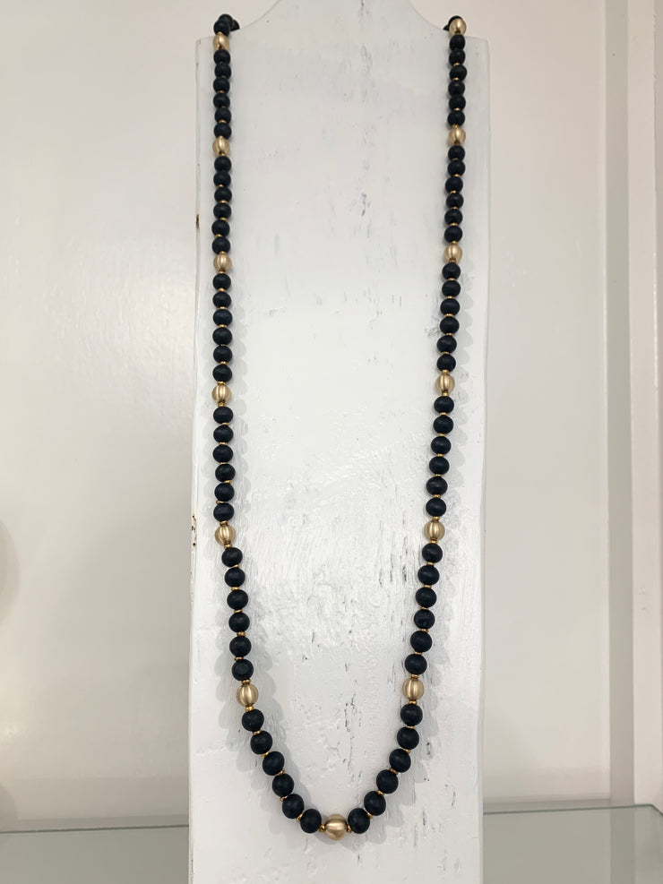 Long Wood ball necklace Black
