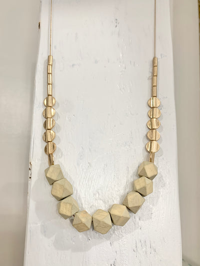 Wood Ball Necklace Gray