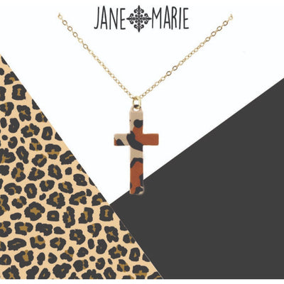 Leopard Metal Cross Necklace