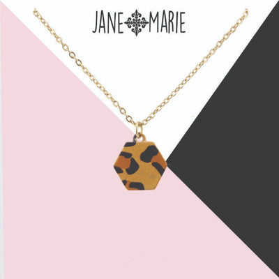 Brown Leopard Metal Hexagon Necklace