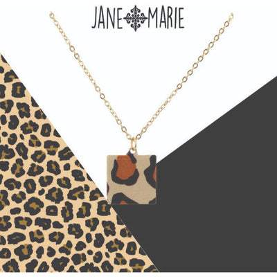 Leopard Metal Square Necklace