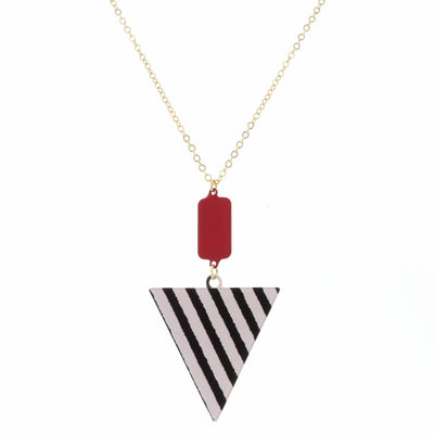 Red Rounded Striped Triangle Necklace