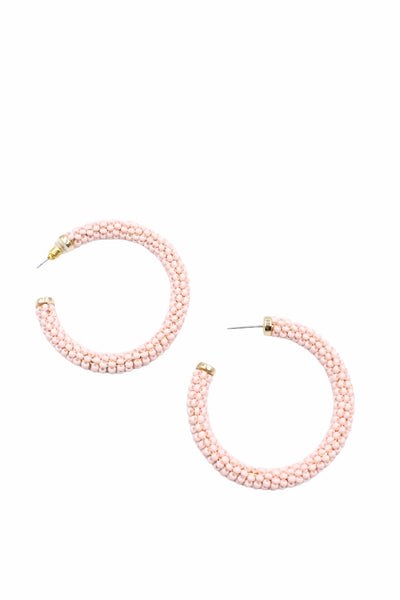 Beaded Hoops, Light Pink