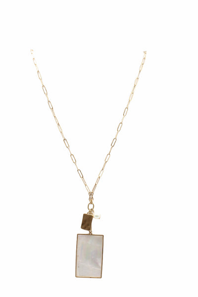 Shell Rectangle Pendant, White