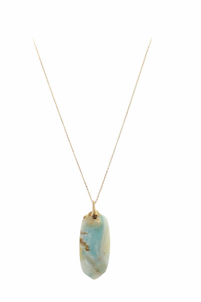 Oval Marble Necklace, Blue