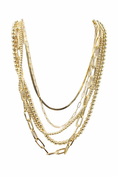 Multi Chain Layer Necklace, Gold